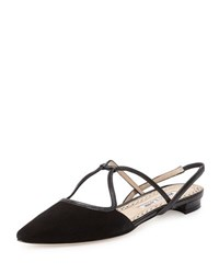 Manolo Blahnik Umbusus Looped Slingback Flat Black