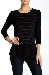Cable And Gauge Stripe Body Tee Petite Black