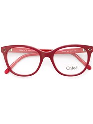 Chloe Oval Glasses Red