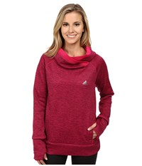 Adidas Team Issue Fleece Exaggerated Mock Pullover Maroon Heather Bold Pink Matte Silver Women's Long Sleeve Pullover Red