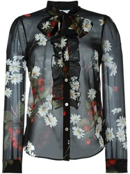 Red Valentino Sheer Floral Print Blouse Black