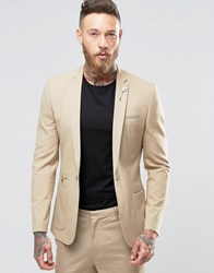 Asos Super Skinny Fashion Blazer In Camel Mushroom Brown