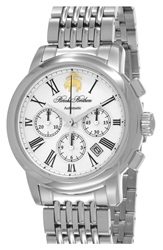 Brooks Brothers Chronograph Bracelet Watch 43Mm Silver White