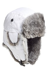 Men's Woolrich 'Supplex' Genuine Rabbit Fur Lined Aviator Cap White