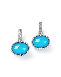 Judith Ripka Sterling Silver Eclipse Turquoise Doublet Earrings White Silver