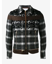 Kolor Wool Blend Leopard Print Check Bomber Jacket Black White Leopard Brown Grey