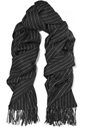 Rag And Bone Pinstriped Merino Wool Scarf Black