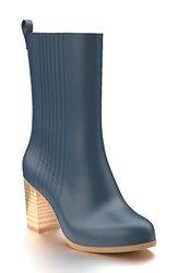 Shoes Of Prey Women's Mid Calf Boot Blue Leather