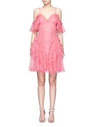 Alexander Mcqueen Ruffled Silk Open Knit Cold Shoulder Dress Pink