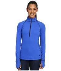 Mountain Hardwear Butterlicious Long Sleeve 1 2 Zip Top Bright Island Blue Indigo Women's Long Sleeve Pullover