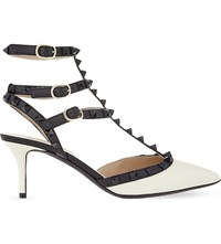 Valentino Rockstud 65 Studded Heeled Leather Courts White Blk