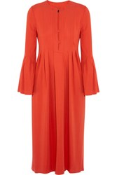 Rachel Zoe Glenys Pleated Stretch Crepe Midi Dress Bright Orange