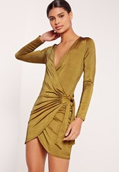 Missguided Slinky Ribbed Wrap Dress Green Olive