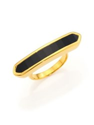 Monica Vinader Baja 18K Gold Plated Vermeil And Onyx Long Ring