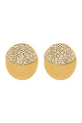 Nadri 18K Gold Plated Eclipse Round Pave Double Sided Earrings Metallic