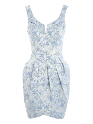 Jane Norman Jacquard Tulip Midi Dress Blue