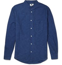 Nn.07 Devon Grandad Collar Cotton Shirt Blue