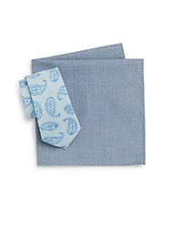 Original Penguin Bolina Paisley Tie And Solid Pocket Square Set Blue