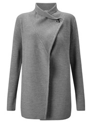 Jigsaw Ring Fastening Pique Cardigan Grey Melange