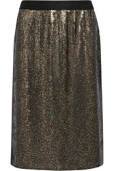 Tibi Sequined Silk Chiffon Skirt Army Green