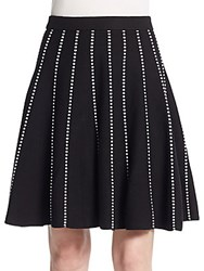 Saks Fifth Avenue Black Striped Knit Skirt Black Bleach