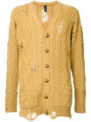 Miharayasuhiro Distressed Aran Knit Cardigan Yellow Orange