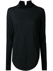 Bassike Funnel Neck T Shirt Black