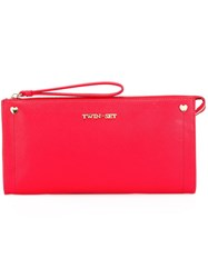Twin Set Logo Plaque Clutch Red