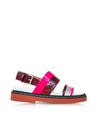 Marni Fussbett Transparent And Hot Pink Vinyl And Leather Sandal
