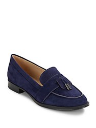 Via Spiga Slip On Leather Loafers Navy