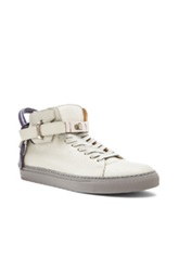 Buscemi 100Mm High Top Leather Sneakers In Gray