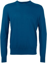 Z Zegna Crew Neck Fine Knit Sweatshirt Blue