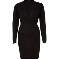 River Island Womens Black Plunge Neck Bodycon Mini Dress
