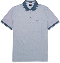 Hugo Boss Mercerised Cotton Pique Polo Short Blue