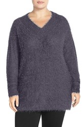 Plus Size Women's Sejour 'Happy' Eyelash Yarn V Neck Sweater Grey Meteor