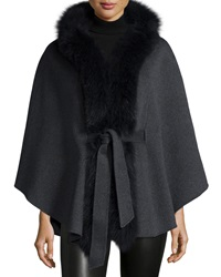 Neiman Marcus Cashmere Collection Fox Trim Belted Cashmere Cape