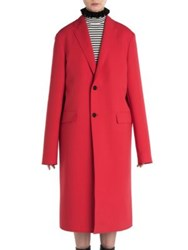 Msgm Solid Long Sleeve Coat Red