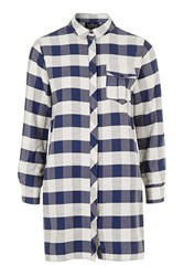 Topshop Petite Gingham Shirt Dress Navy Blue