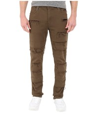 Publish Ogden Classic Fit Brushed Stretch Twill Pants With Ripped And Repaired Details Olive Men's Casual Pants