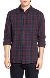 French Connection Men's Trim Fit Flannel Plaid Sport Shirt
