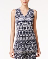 Alfani Printed High Low Tunic Only At Macy's Weave Texture Navy