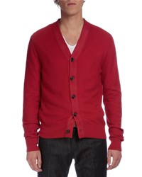 Berluti V Neck Knit Silk Cotton Cardigan Red
