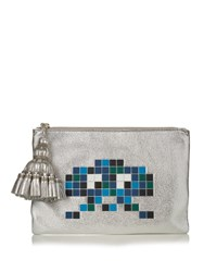 Anya Hindmarch Georgiana Space Invaders Leather Clutch Silver