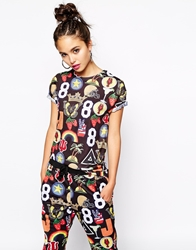 Jaded London T Shirt With All Over Varsity Patch Print Co Ord Multi