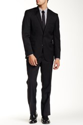Kenneth Cole Navy Pinstripe Two Button Notch Lapel Wool Suit Gray