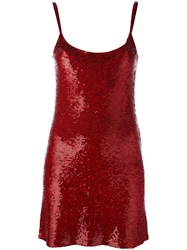 Ashish Sequined Slip Dress Red