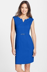 Angular Neckline Sheath Dress Royal