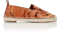 Chloe Women's Floral Etched Leather Espadrilles Tan