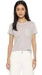 Chinti And Parker Linen Printed Pocket Tee Silver