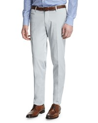 Isaia Gregory Flat Front Cotton Trousers Light Gray Men's